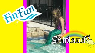 Sammi Becomes a Mermaid | FIN FUN Mermaid Tail UNBOXING + Review + Tips + Swimming in the pool!