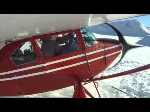 Glacier Takeoff from Talkeetna Mountains, Gopro equipped Piper Tripacer Ski Plane, Alaska