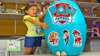 HUGE PAW PATROL SURPRISE EGG Kinder Surprise Eggs Surprise Toys Opening - Action Rescue Pups LookOut
