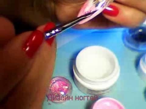 дизайн ногтей цветными гелями видео: