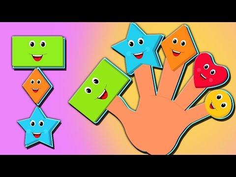 formas dedo família | dedo canção familiar | crianças rima de berçário | Shapes Finger Family
