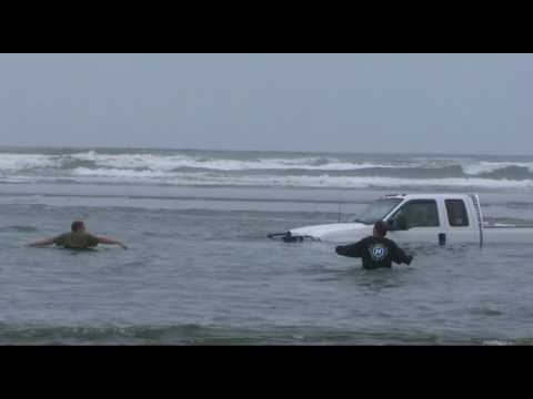 Chevy Rescues Ford Pickup in Deep Water, Grayland, Washington
