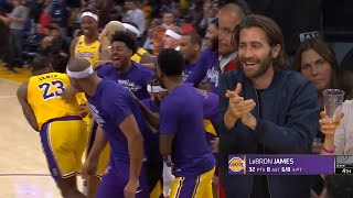LeBron James shocks Lakers bench after scored 5 threes in a row | Lakers vs Spurs