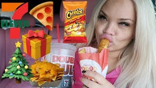 7 ELEVEN CHRISTMAS EVE EATING SHOW IN MY CAR!!! HOLIDAY GAS STATION FOOD MUKBANG