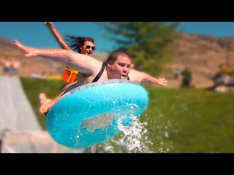 Slip n' Slide Launches People Into Kiddie Pools (1000 fps)