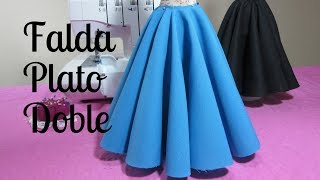 Falda doble circular larga