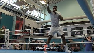 ANTHONY JOSHUA LOOKING LEAN & LIGHT ON HIS FEET SHADOW BOXING FOR HIS JOSEPH PARKER FIGHT!