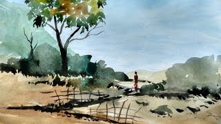 Watercolor Landscape Tutorial | How to paint a watercolor landscape | Paint with david