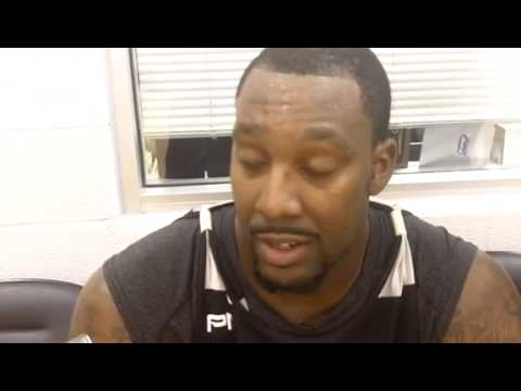 Andray Blatche interviewed courtside during practice 27 October