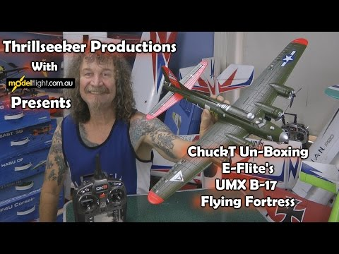 E-Flite UMX B-17 Flying Fortress Un-Boxing  with ChuckT