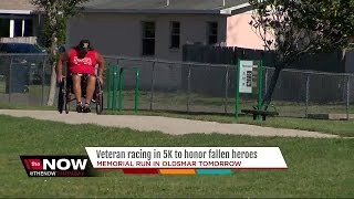 Air Force Veteran pays tribute to fallen heroes by racing in 5K with wheelchair