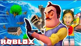 ПРИВЕТ СОСЕД спас МЕНЯ от ЦУНАМИ РОБЛОКС Остров выживания Челлендж Hello Neighbor Roblox Валеришка