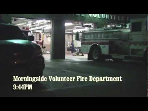"Actor/comedian Todd Glass joins Morningside City Councilman Kevin D. Kline on a tour of the Morningside Volunteer Fire Department. Firefighter ""Chips"" McKnig..."