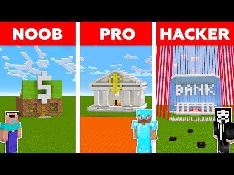 Minecraft NOOB vs PRO vs HACKER : SECURE BANK CHALLENGE in minecraft / Animation