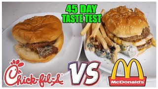Chickfila vs McDonalds 45 Day Old Experiment *TASTE TEST* (DO NOT TRY AT HOME)