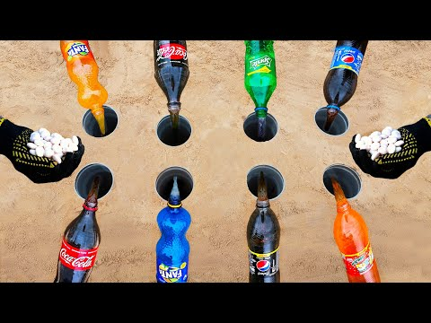 Experiment: Coca-Cola, Fanta, Sprite vs Mentos in Holes Underground Colorful - Elephant ToothPaste
