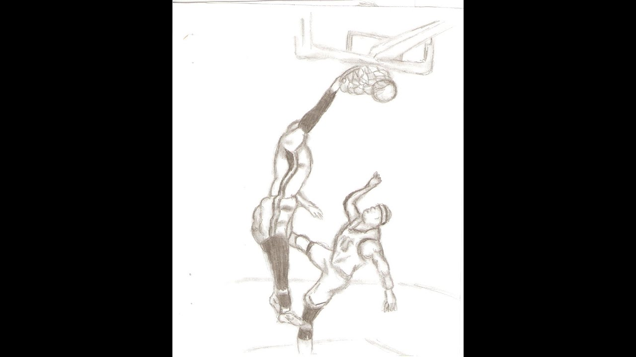 Lebron Dunking Drawing of Lebron James Dunking on