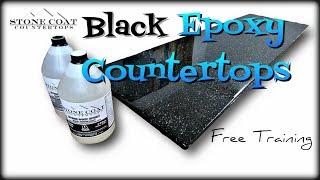Quartz Black Epoxy Countertops with Silver Mica Flakes