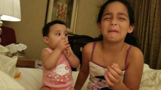 8 MONTH OLD Baby CRYING because her sister cries!!!