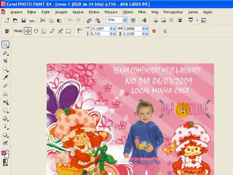 COREL PHOTO PAINT convite de aniversario