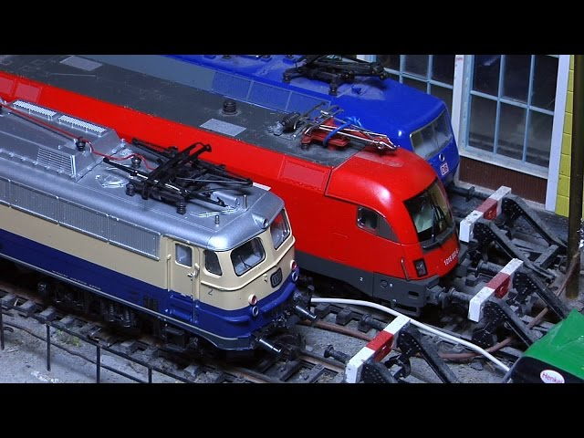 Marklin model train layout in analogue mode and HO scale