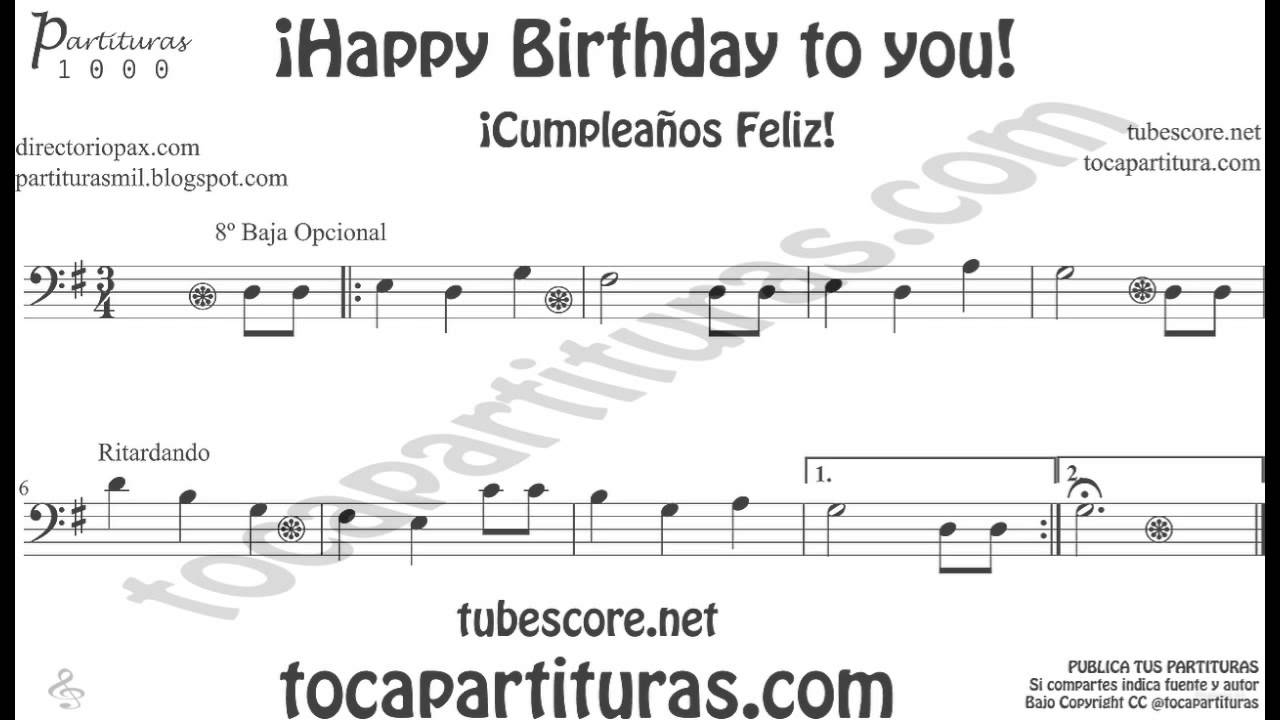 Happy birthday to you sheet music in bass clef for trombone cello