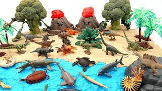 Toy Dinosaurs In Jurassic World Volcano Island Learn Dinosaur Names Dino Mini Set Fun Video