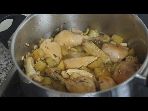 Receta: Pollo al ajillo (caldo de pollo, cómo limpiar y eviscerar un pollo)