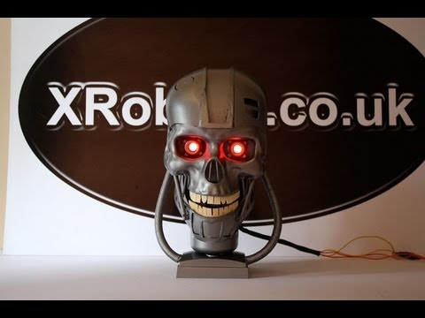 XRobots - Dollar Store Terminator Endoskeleton Skull movie prop build homemade project