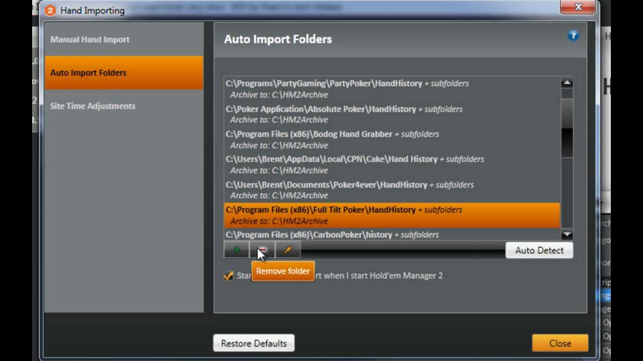 Holdem manager import errors