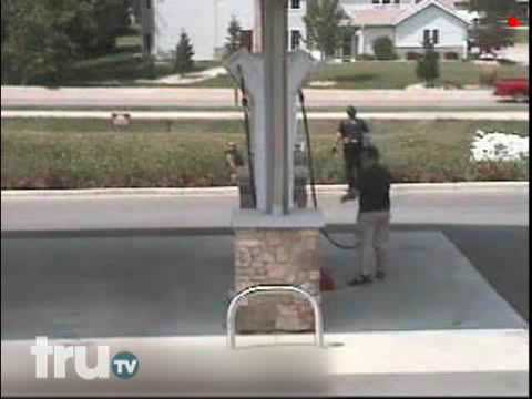 World's Dumbest Drivers- Gas Station Runaway