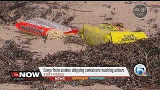 Cargo from sunken shipping containers washing ashore