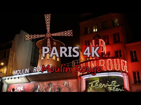 Ultra HD 4K Paris France Moulin Rouge Entertainment Place Travel Attraction UHD Video Stock Footage