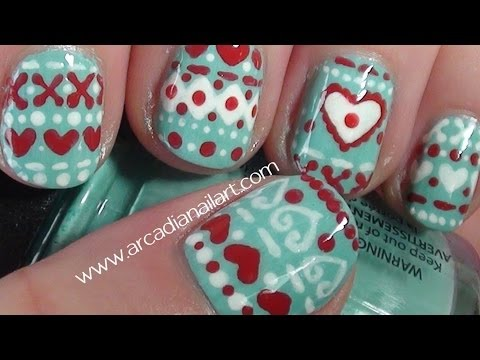 Winter Sweater Nail Art Tutorial on short nails