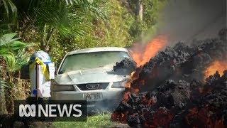 Lava swallows car in Hawaii