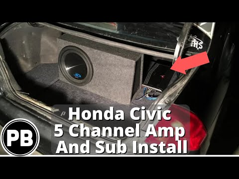 2001 2005 honda civic 5 channel amp and sub install