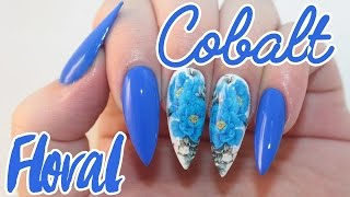 How To: Cobalt Floral Acrylic Nails Tutorial