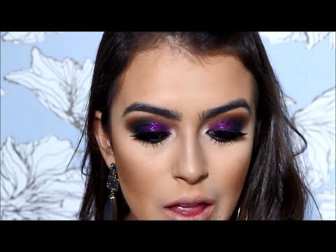 Maquiagem usando Glitter Roxo e produtos Dailus por Mariana Saad