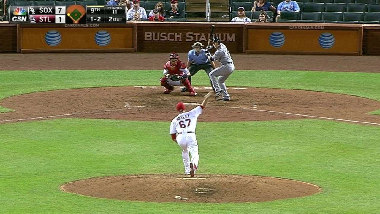 CWS@STL: Hatley fans Beckham for first career K