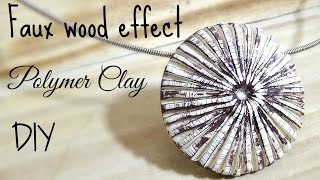 Faux wood pendent polymer clay tutorial ENGLISH