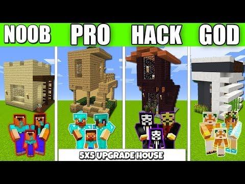 Minecraft Battle 5х5 UPGRADE HOUSE FAMILY BUILD CHALLENGE NOOB vs PRO vs HACKER Minecraft Animation