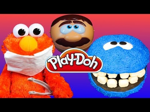 Cookie Monster Gets Teeth by Play Doh Doctor Drill N Fill Playset Sesame Street Elmo Dentist!