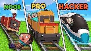 Minecraft - NOOB vs PRO vs HACKER - TRAIN STATION!