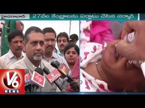 CS Rajiv Sharma Participates In Pulse Polio Immunization Drive Campaign | Hyderabad | V6 News