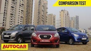Datsun Go Vs Hyundai Eon Vs Maruti Wagon R | Comparison Test | Autocar India