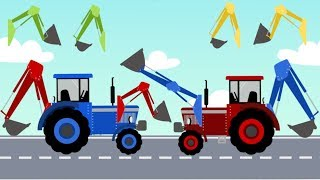 Excavator and Truck | Learning colors with Tractor | Street Vehicles | Compilation for Kids
