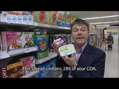 Food and Drink Federation adverts aired in GP surgeries featuring dietitian Nigel Denby giving advice on how to use GDA labels to check, compare and choose b...