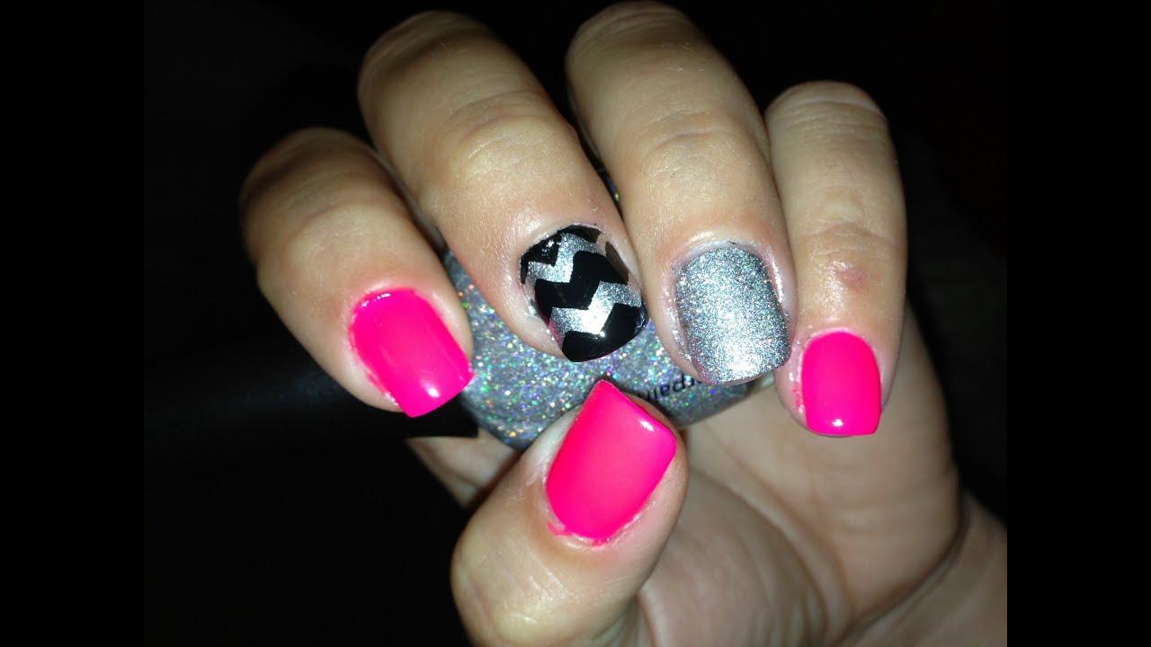 Glitter Chevron Acrylic Nails Pink Glitter Chevron Nail Art