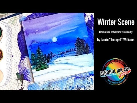 Winter Scene with Alcohol Ink