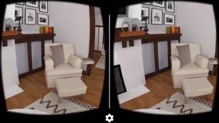 Living room interior design in VR